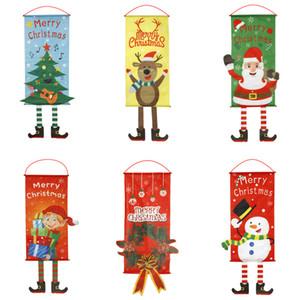 Natale Hanging Bandiere camera Vetrina Ciondolo partito della casa di ornamento della parete esterna di natale Babbo Natale porta decorazione con laccio JK1910