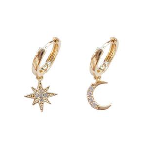 2019 Nouvelle arrivée Mode Classique géométrique Femmes Boucle d'oreille en Asymétrique Boucles d'oreilles étoiles et la Lune Femme coréenne Bijoux
