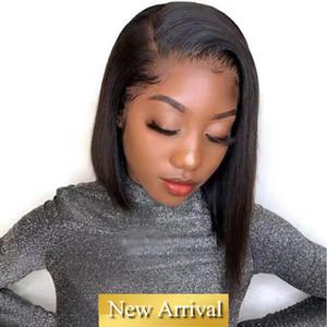 Brevi umani parrucche Capelli lisci brasiliana del merletto dei capelli della parte anteriore Pixie Cut Human Wig capelli Pre a pizzico