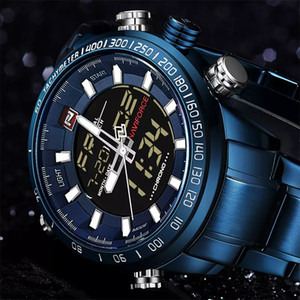 NAVIFORCE 9093 Роскошные мужские Спортивные Часы Chrono Марка Водонепроницаемый EL Подсветка Цифровые Наручные часы Мужчины Секундомер Часы