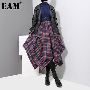 [EAM] 2020 New Spring High Waist Red Plaid Split Joitn Loose Big Hem Half-body Skirt Women Fashion Tide All-match JD402 Y200704
