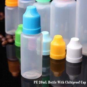 Garrafa 20ml PE com Childproof Cap translúcidos 20ml garrafas de plástico conta-gotas e longo Ponta Delgada líquido e frascos vazios 2/3 OZ