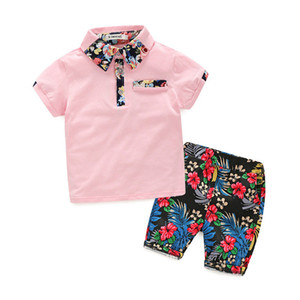 Meninos Criança Polos Outfits criança Cotton Tops lapela T-shirts Terno Crianças Casual Vestuário Meninos Boutique Floral bolso Elastic Shorts terno 060417