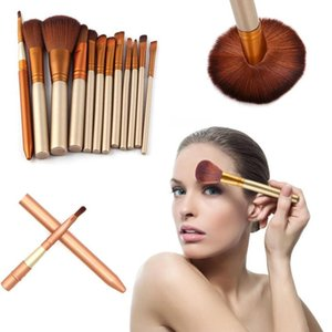 12PCS Luxury Champagne Makeup Brushes Set Foundation Beauty Up Brush Contour Eyeshadow Concealer Blending Make Cosmetic Pow G1A7