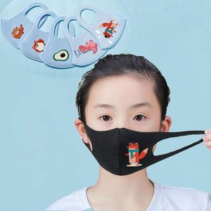 US Ship Designer Ice Silk Children protective Masks Cartoon Mouth Kids Anti-Dust Breathable Earloop Washable Reusable Cotton Face Masks
