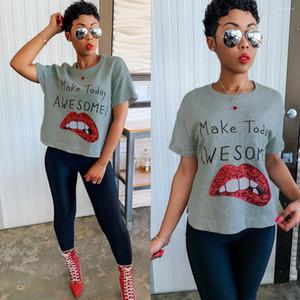 Tripulação letra impressa Algodão Moda Vestuário Mulheres Big Lip lantejoulas T-shirts Neck Blusa de manga curta
