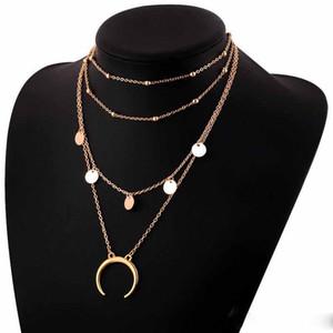 Довольно цепи ожерелья красиво Длинная луна кисточка кулона ожерелье подвеска Золотого цвета Луна Монета Chocker Boho Chain многослойное ожерелье