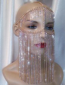 Chains Mulheres Rocha Harness ouro cabeça cor de jóias originais Design Corrente de cristal luxuoso borlas face Chains Máscara Jóias