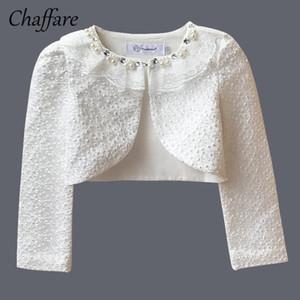 Chaffare Girls Lace Party Cappotto formale Bolero Wedding Beading Bambini Giacca per ragazza manica lunga bianco Short Shrug Mantello Prom Cape