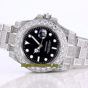 Meilleure version diamant incrusté 116610 114060 14060M 2813 Mécanique Automatique Lumineux Mens Watch Diamonds Case Iced Band Glacé pleine Montres