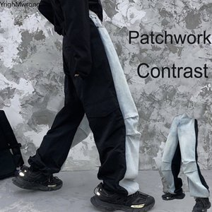 Patchwork Contraste Denim Baggy Pant Mano Hombre Harajuku Streetwear Streetwee Jeans Coreano Pantalón Boyfriend Moda High Cintura Punk Hip Hop