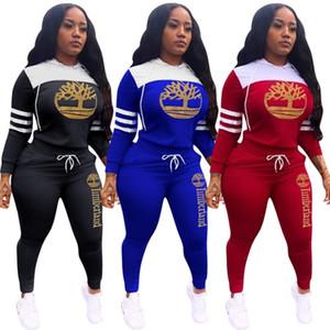 womens deux pièces ensemble survêtement pantalon chemise sport à manches longues Pantalons chemise collants pull-over sweatsuit sportswear klw2957 chaud