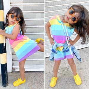 달콤한 어린 아기 소녀 여름 민소매 무지개 스트라이프 드레스 의상 Sunsuit 의류 미니 드레스와 까마귀