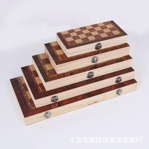 4 Tamaño Ajedrez de ajedrez de madera plegable de madera en caja de color en caja Conjunto de juego de mesa plegable portátil regalo de los niños