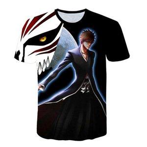 Harajuku 2018 Summer Men Anime Tees Casual Tops Print T-shirt T XDX062 Ichigo Mens Top Kurosaki Bleach Shirt 3d O-neck Godsb