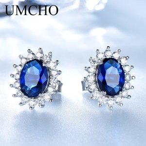 UMCHO lujo de los pendientes genuino plata de ley 925 para la joyería del banquete de boda de las mujeres azul zafiro Diana romántica CJ191223 regalo de la joyería fina