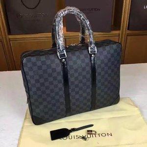 Männer Schulter-Aktenkoffer Schwarz Braun Leder-Handtasche Geschäftsmann-Laptop-Tasche Messenger Bag 3Color 53361