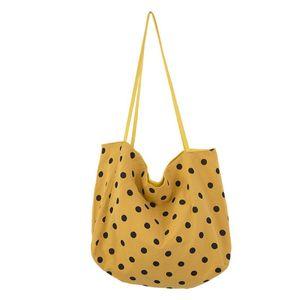 Mulheres Praia Casual Polka Dot Bolsa Grande capacidade de impressão do livro do vintage Moda Shoulder Bag Mensageiro Tote Bolsa