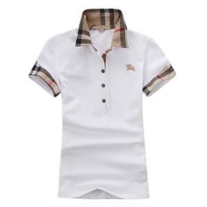 المرأة تي شيرت مصمم قصيرة الأكمام الصيف قميص بولو العلامة التجارية قميص بولو النساء الفاخرة عالية الجودة قمم 5 لون S-XXL