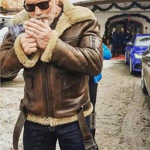 Inverno Mens Designer Giacche Mens risvolto maniche lunghe cappotti Moda Uomo PU Outerwear con la chiusura lampo