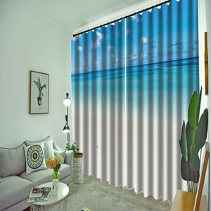 Customized blue curtains beach 3d curtains new window balcony thickened windshield blackout curtains