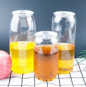 Пластиковые бутылки напитка Pop Can 350мл 500ML 650мл Ring-Pull Может круглых бутылки воды Одноразовой ПЭТ пищевого качества сок Чашка GGA3486-2