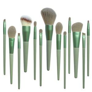 13PCS Green Makeup Brushes Set Powder Foundation Eyeshadow Blusher Professional Beauty Make up brush Soft Hair Cosmetic Tools