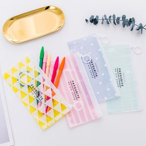2 Pcs Transparent Polygon Pencil Cases Simple Pull Ring Design Office Student Pencil Bag School Supplies Pen Box Stationery