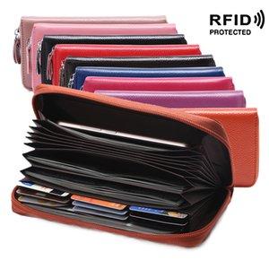 RFID Proteggere vera pelle lungo frizione portafogli da donna pelle bovina Zipper Borse Slot per scheda Tasche borse del raccoglitore di banconote Sacchetti Moda