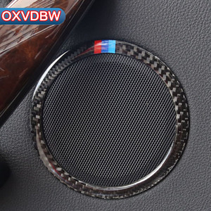 4 pz Car Styling Carbon Fiber Car Door Altoparlante Anello Interni Trim Sticker Per BMW F30 320i 325i F34 3GT 3 Accessori di Serie