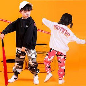 Children Hip Hop Clothing Kids Boys Girls Jazz Street Dance Costume Spring Autumn Sweatshirt Pants Set Dancewear Stage Outfit