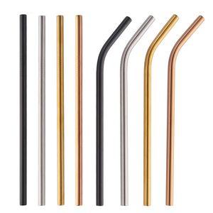 Coloré inoxydable Boisson en acier Straws droit et Bent réutilisable filtre avec des outils de bricolage thé brosse café bar Accessoires Party