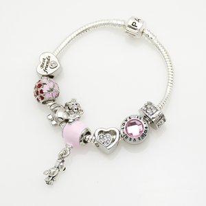 7 estilo de la pulsera del encanto 925 pulseras de Pandora de plata para las mujeres real del corazón en forma de granos de la pulsera de cristal bolas de bricolaje europeas del encanto con la caja