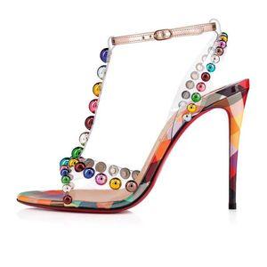Sandali estivi con perline strass donna sandali aperti con fibbia tacco alto in stile femminileCL sandali alla moda