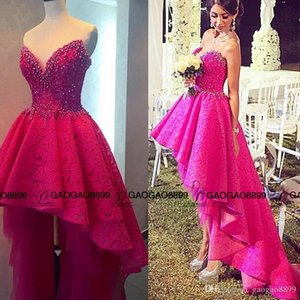 High Low Lace fuchsia Prom Dresses 2019 Gorgeous Sweetheart Pearls Beaded Ruffles Backless Hot Pink Asymmetrical Evening pageant Gowns
