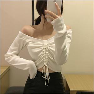 어깨 자르기 오프 섹시한 여성 의류 화이트 블랙 블루 캐주얼 셔링 주름 t- 셔츠 여성 긴 소매 크롭 티셔츠 탑