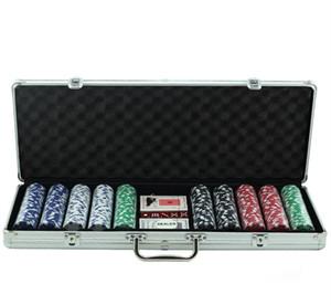 500PCS القمار رقائق المفاوضة فيشات للعبة البوكر سبائك الألومنيوم مجموعة 11.5g العليا رقائق الجودة مع 2 بطاقات بوكر