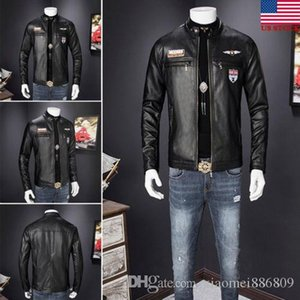 Winter Emmababy Mens Retro Style Zipped Biker Jacket Real Leather Soft Coat Factory Black Casual Free shipping