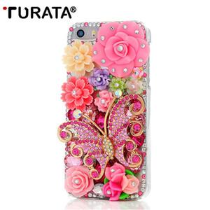 Fait à la main Bling strass Diamant Papillon Coloré Fleurs Perle Dur Retour Cas de Téléphone Couverture Pour iPhone5 iPhone 5 5G 5S SE