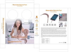 Neck Hanging Power Bank Fan de mode portable mini ventilateur USB Sport Wearable charge avec la lumière LED détail d'emballage