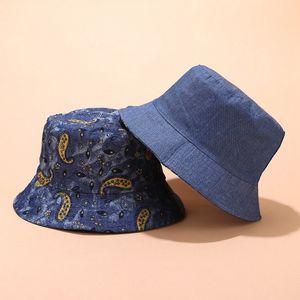 Femmes Hat New Retro jean délavé bassin Cap dames, rue Tendance Cashew fleur chapeau de pêcheur Four Seasons Bucket Universal Sun