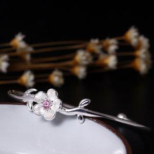 Sterling Silver 925 Bijoux New Ethnic Blooming Flower Cuff Bangle Pour Les Femmes Classique À La Main Fine Jewelry Open Bangles