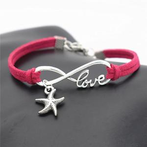 Hecho a mano Build You Own Silver Infinity Love Sea Star Estrella de mar Charm Bracelet Woven 100% Hand Red Leather Rope Trendy Women Hombre Joyería Regalos