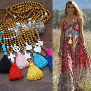 Turquoise Pendentif En Bois Naturel Perles Nacklace Chandail Chaîne Style Ethnique De Bohème Coloré Collier Frangé pour Femmes Bijoux
