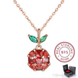 Alta qualità superiore di Apple Style gioielli in cristallo S925 Sterling Silver strass Peace Fruit Shape Pendant Christmas Eve Gift