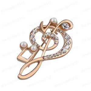 Элегантный Music Note броши для женщин девушки платье аксессуары Золото кристалл брошь горный хрусталь штифтами