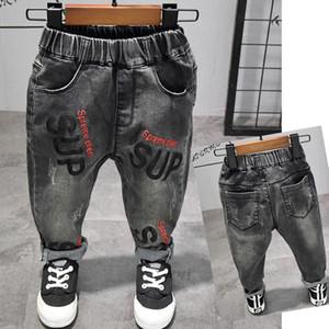 Nova moda carta impressa crianças jeans primavera outono roupas infantis meninos bebê jeans crianças calças calças