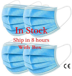 In Stock Disposable Face Masks Elastic Ear Loop Non-woven 3 Layers Breathable Comfortable Anti Dust Air Pollution Protection Mouth Masks