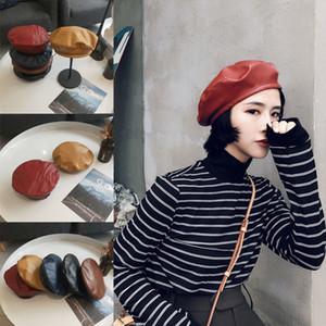 Moda Kadın Bayan Deri Bere Şapka Moda Fransız Kapaklar Ressam Şapka Yeni