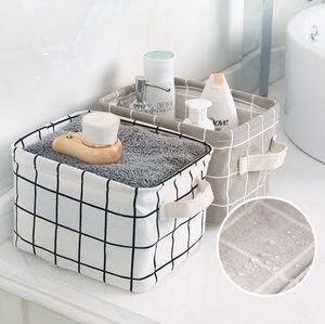15 Designs dobrável Cesta de armazenamento impermeável Clutter Algodão Linho saco de armazenamento para desktop Cosmetic Snacks Toy Organização Armazenamento Bins